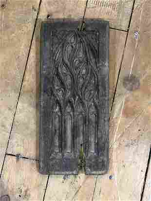 15th C Hand Carved Oak English Gothic Tracery Panel