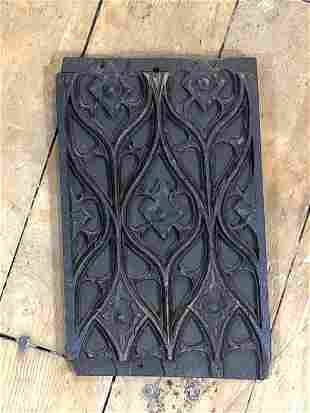 16th C. English Hand Carved Gothic Tracery Oak Panel