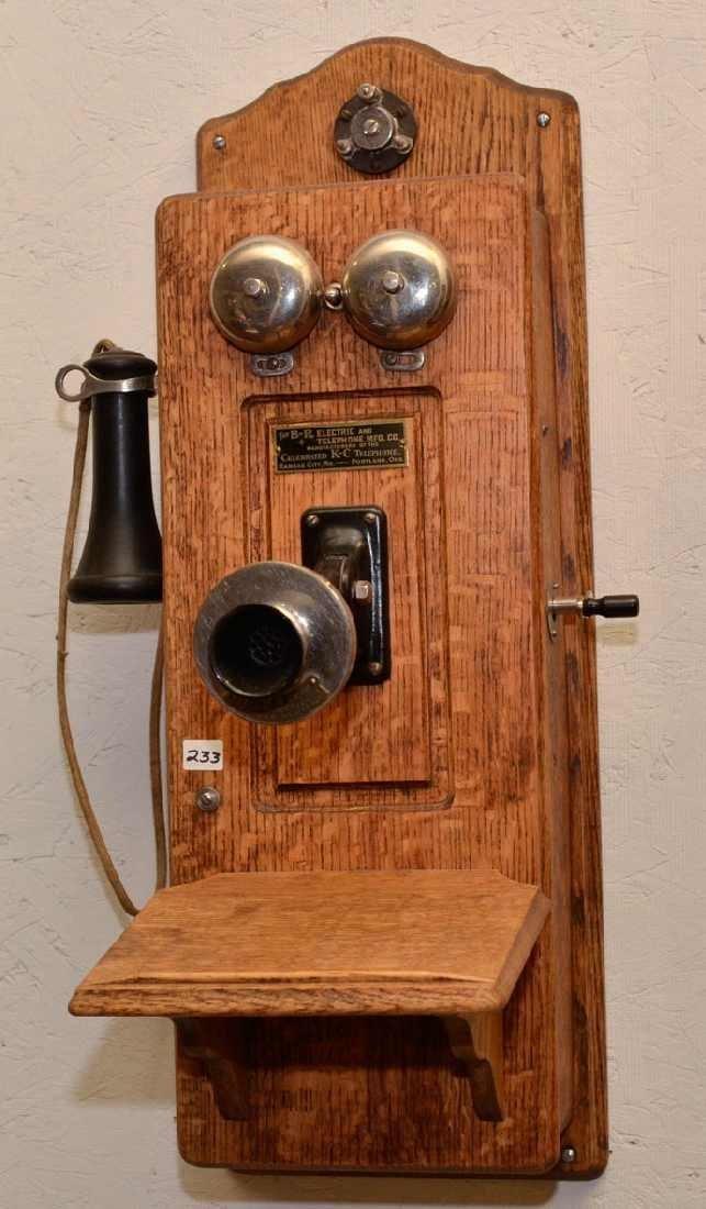 """233: OAK WALL PHONE (""""THE B-R ELECTRIC AND TELEPHONE MF"""