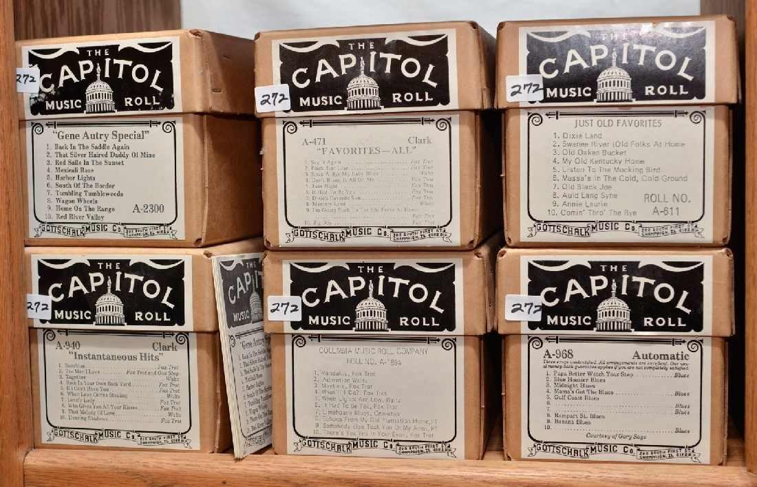272: 6 MODERN NICKELODEON PAPER MUSIC ROLLS. THE CAPITO