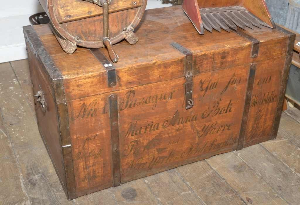VINTAGE WOODEN TRUNK W/ METAL HARDWARE, GERMAN GRAPHICS