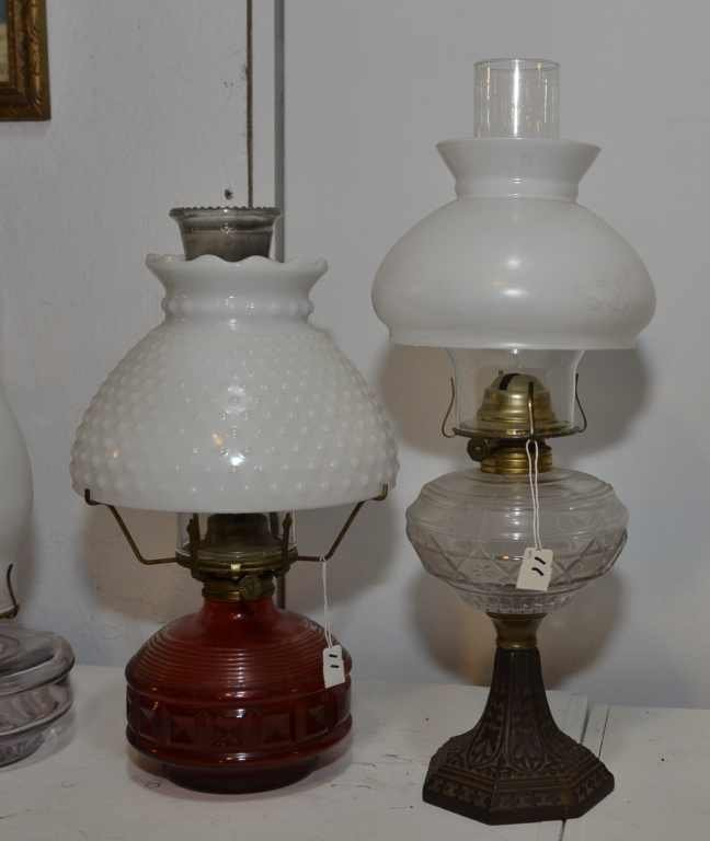 (2) OIL LAMPS MARKED P&A RISDON MFG. CO, 1 WITH HOB NAI