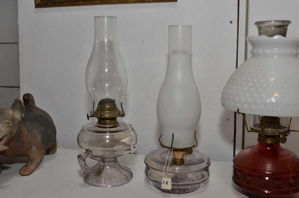 (2) OIL LAMPS, ONE MARKED KLB CO. W/ HANDLE & ONE MARKE
