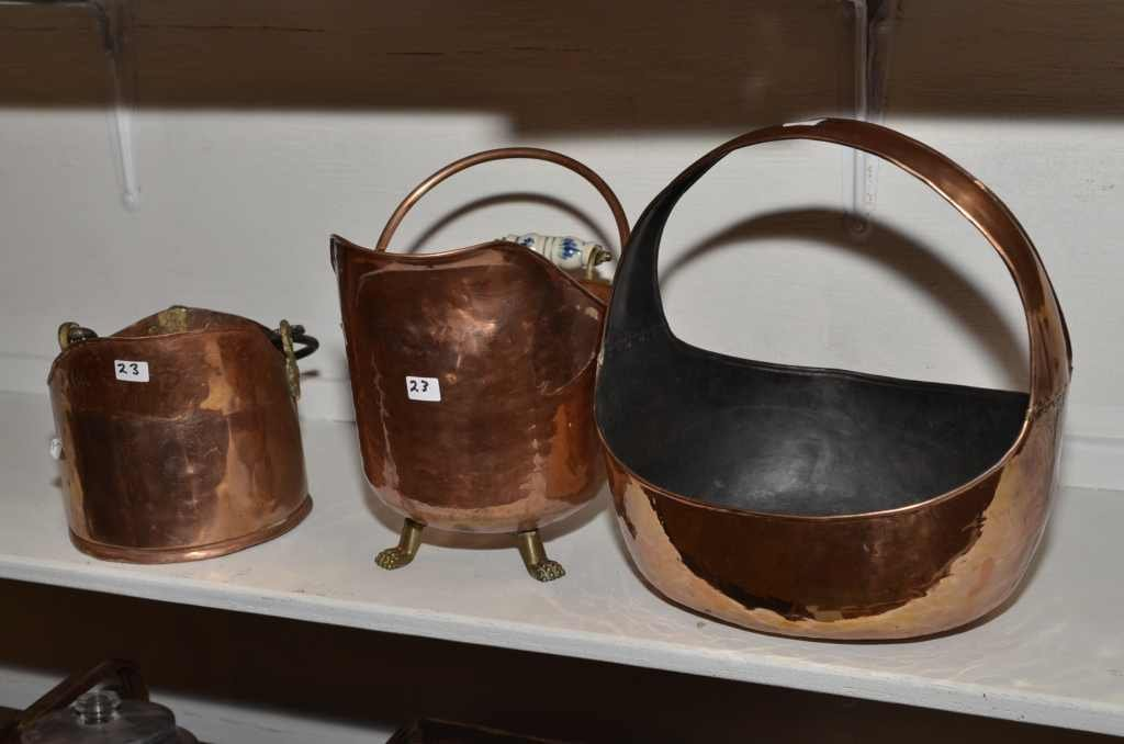 "COPPER BASKET 13 1/2""H, PAIL 7""H, & FOOTED COAL HOD 9 1"