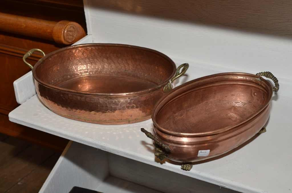 "(2) COPPER PIECES FOOTED BASKET, 11 3/8"" DIAMETER & 1 B"