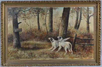 """""""NO HUNTING"""" BY H.W.DICKERSON, OIL ON CANVAS, 27"""" X 41"""""""