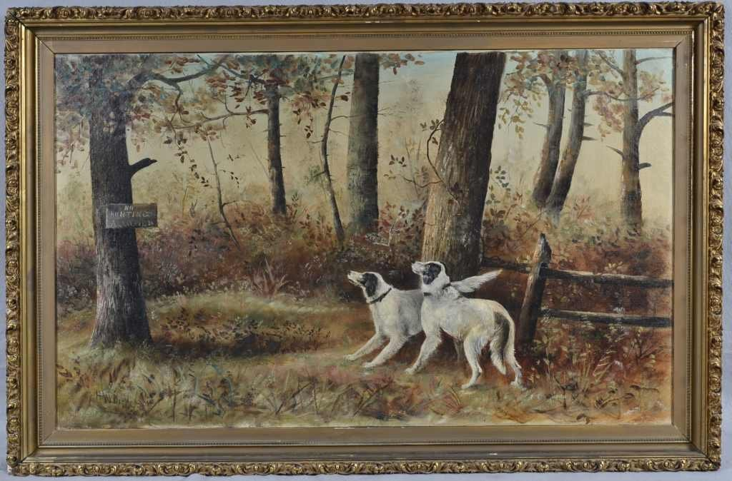 """NO HUNTING"" BY H.W.DICKERSON, OIL ON CANVAS, 27"" X 41"""