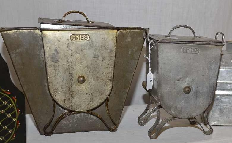 "2 VINTAGE ""FRIES"" FLOUR SIFTERS, ONE HAS DAMAGED LEG."