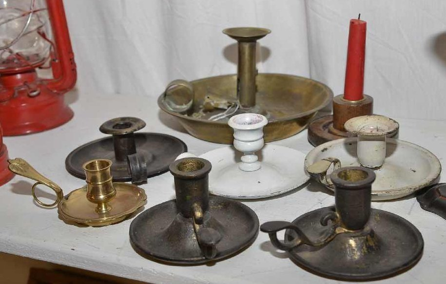 7 VINTAGE METAL CANDLE HOLDERS, ONE W/ CANDLE SNUFFER