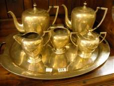 6 PIECE STERLING SILVER TEA SET W/ COFFEE & TEA POTS,