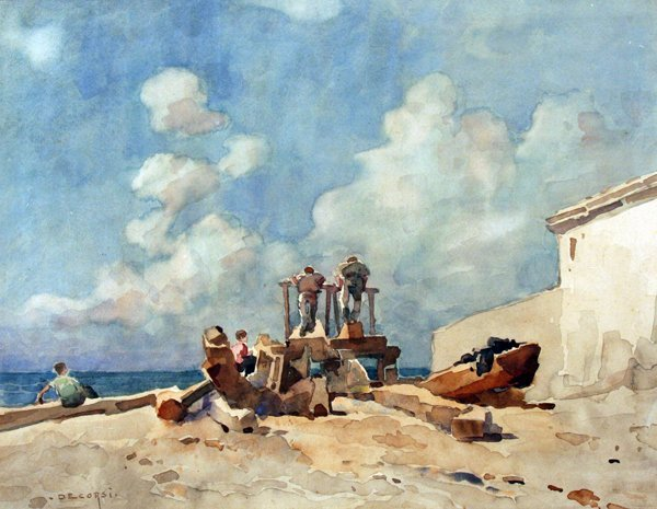 19: De Corsi Nicolas (1882 -1956)-Italian Painting
