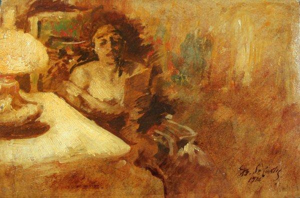 23: DeCurtis GiovanBattista(1860-1926)-Italian Painting