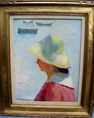 Signed E.B.Si Lady in a Yellow Hat