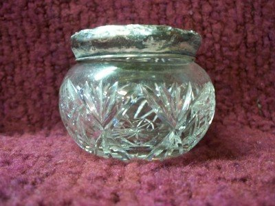 4A: Crystal dresser jar w/ sterling lid, 3 initials on