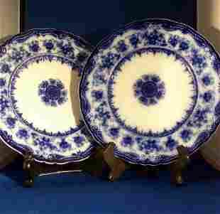 2 English Flo Blue Plates