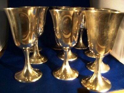 17: 9 piece Gorham sterling goblet set, 1 International