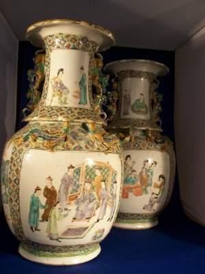 Pair of Rose Manderine Mantel vases, with applied F