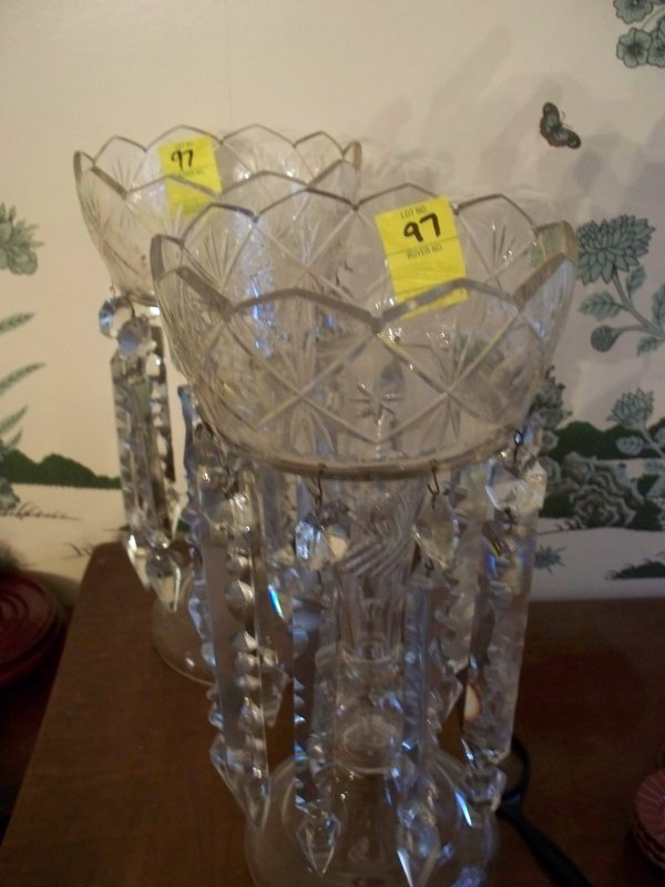 21: Pair of Antique crystal lusters