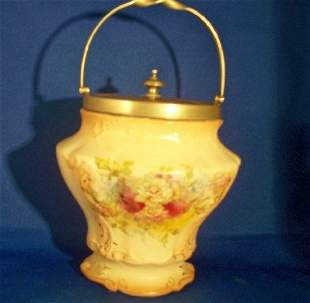 Handpainted Biscuit Jar, S.F. Point England, Royal