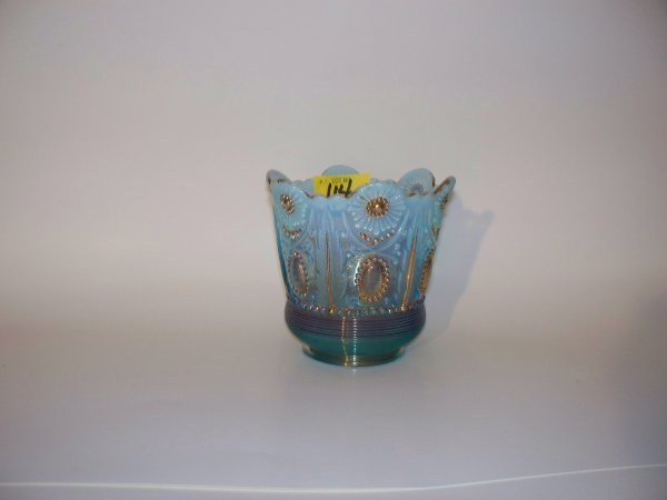24: Blue Glass Spooner with gold meddallion decoration