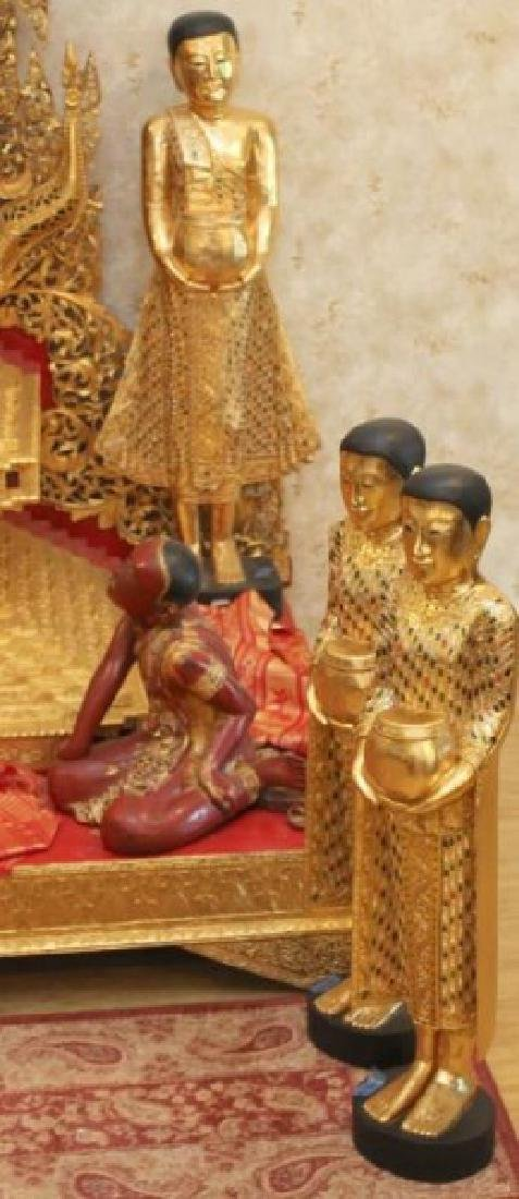 Large gilt & painted Burmese assembled altar with