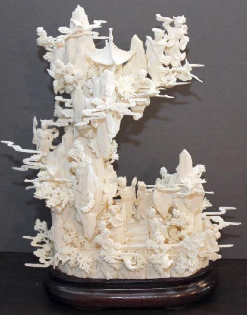 Chinese carved and veneered bone figural landscape