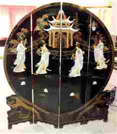 Chinese black lacquer and applied mother of pearl 4