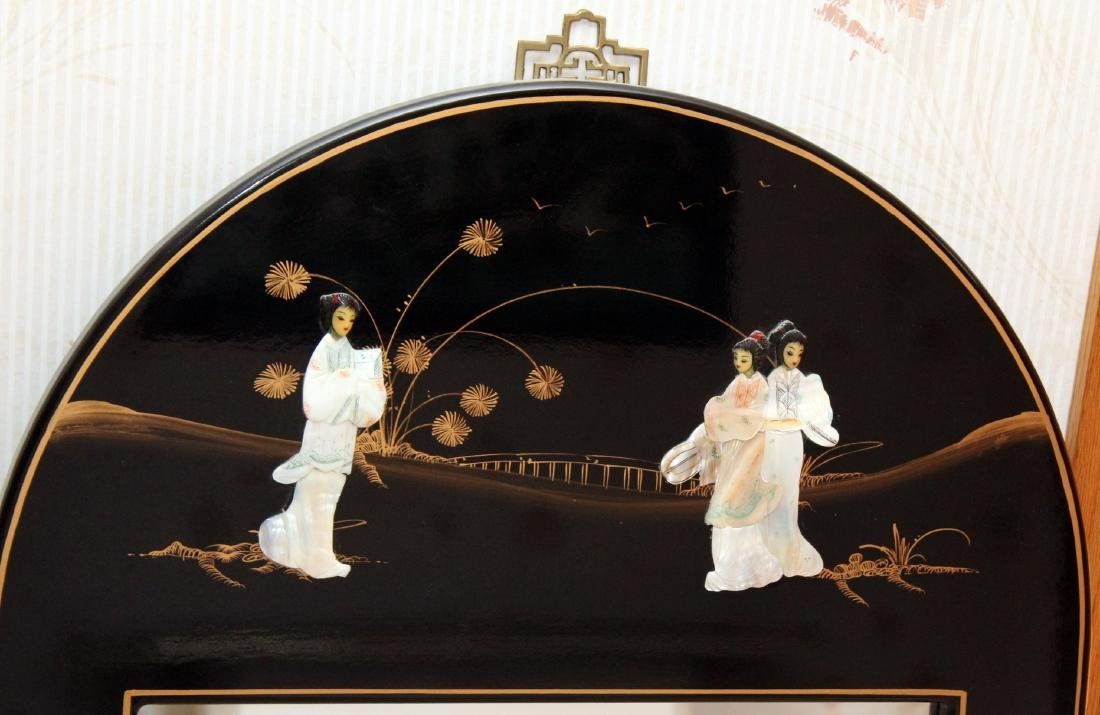 Chinese black lacquer mother of pearl applied ornate - 10