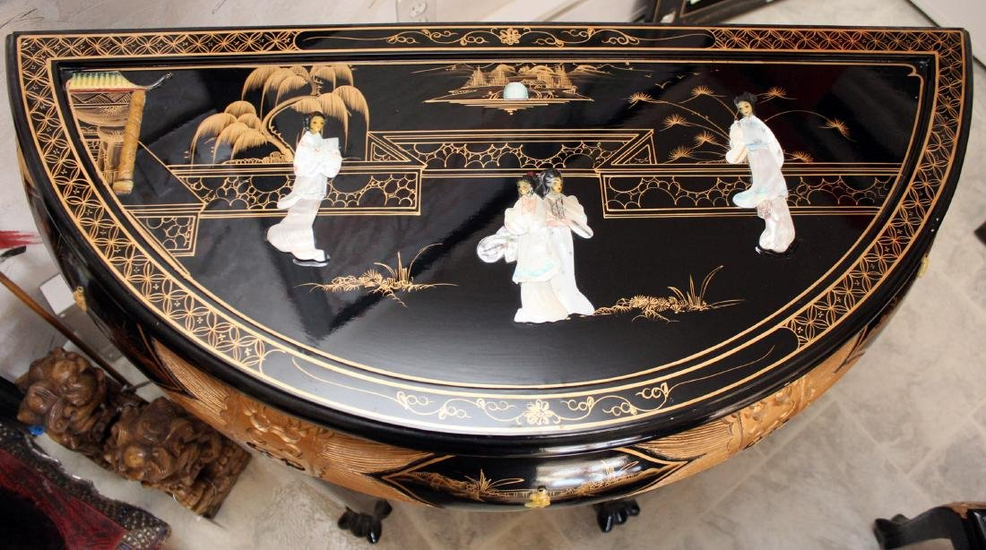 Chinese black lacquer mother of pearl applied ornate - 2