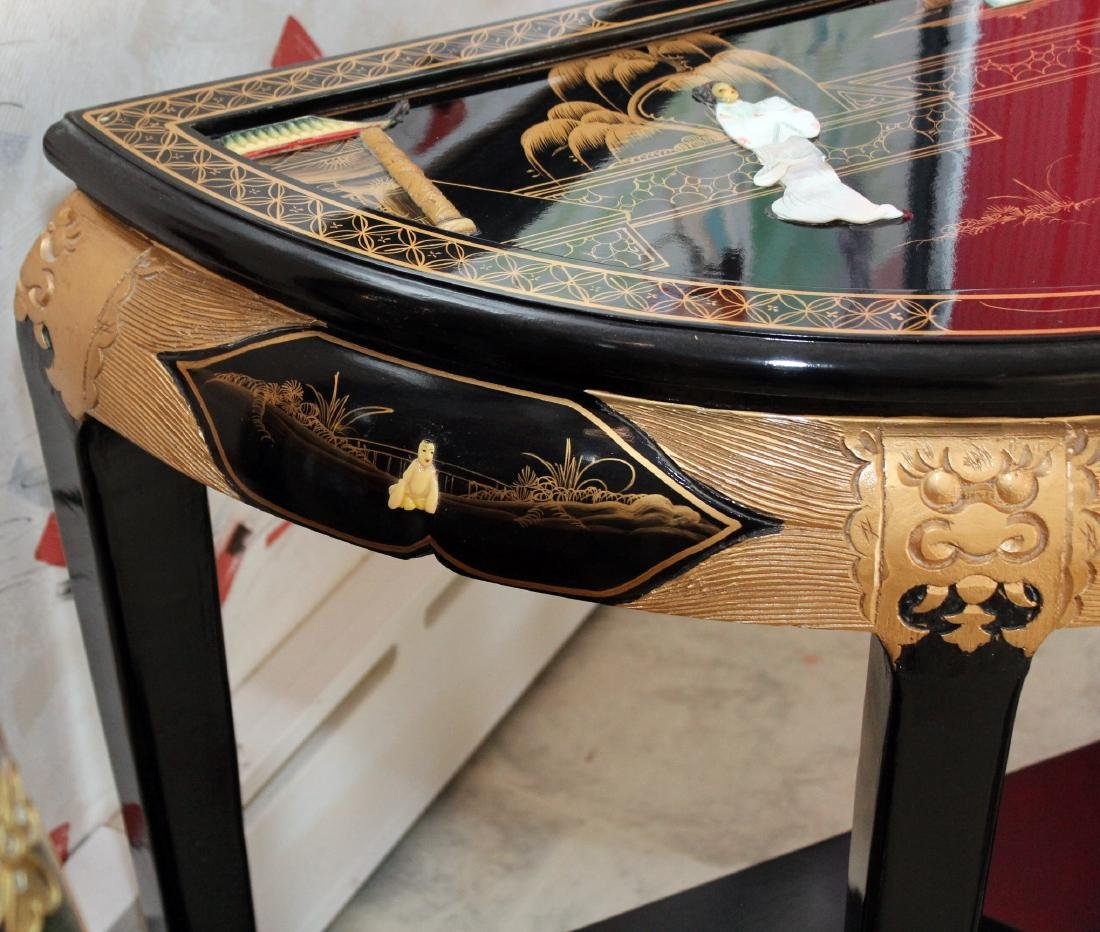 Chinese black lacquer mother of pearl applied ornate - 6