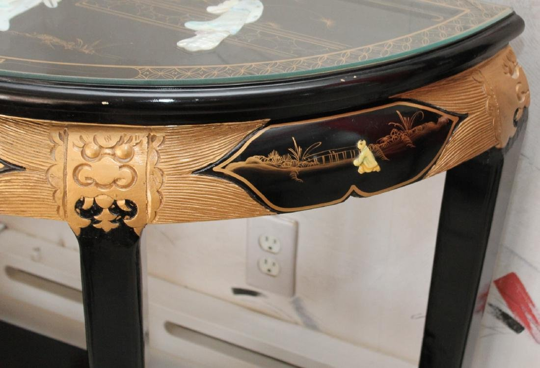 Chinese black lacquer mother of pearl applied ornate - 8