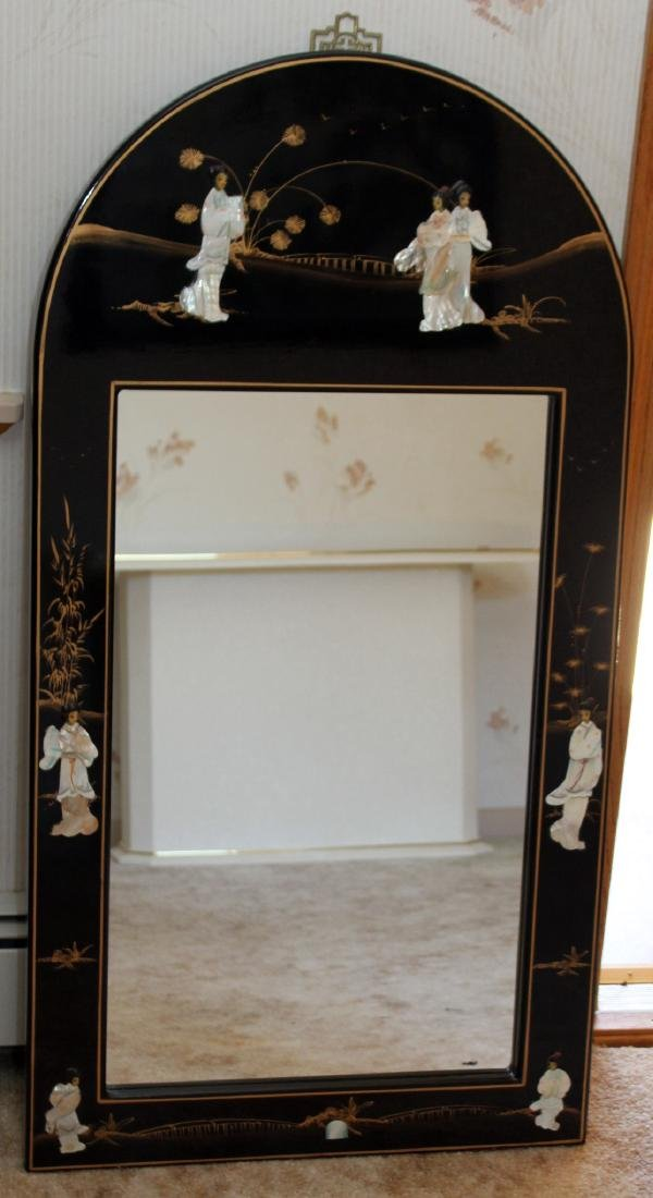 Chinese black lacquer mother of pearl applied ornate - 9