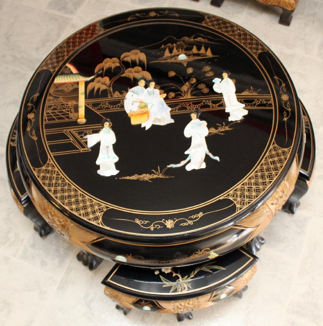 Chinese black lacquer with applied mother of pearl