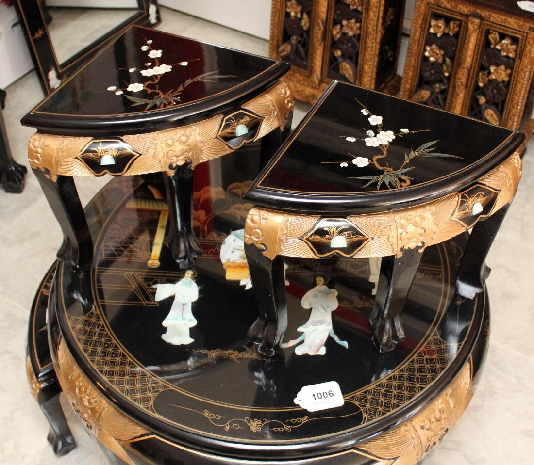 Chinese black lacquer with applied mother of pearl - 3