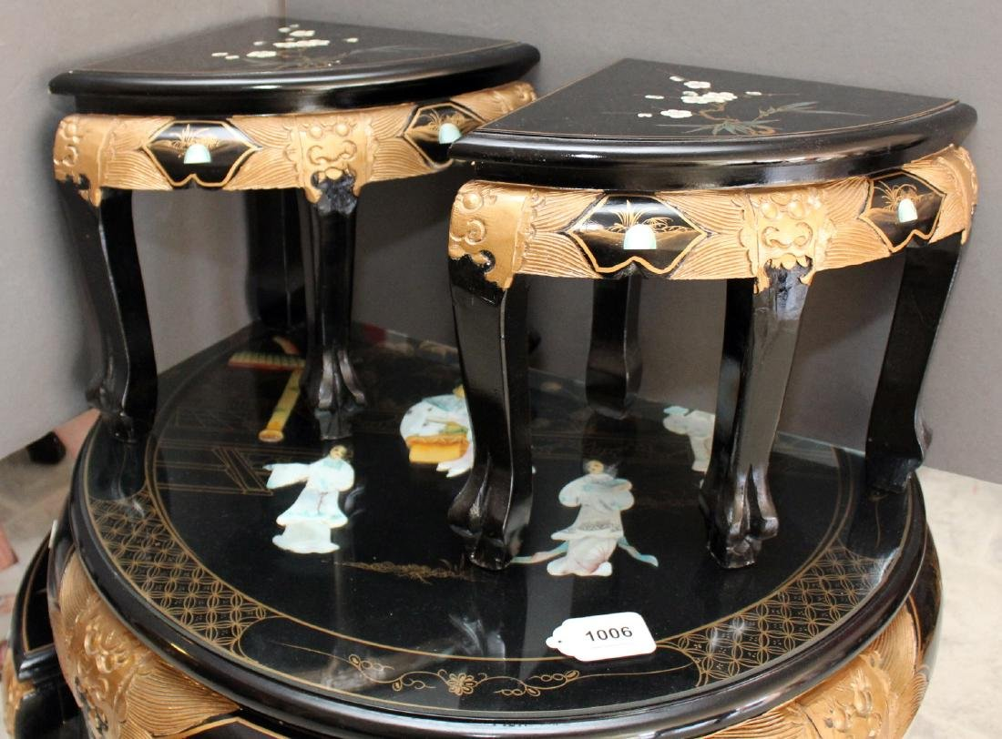 Chinese black lacquer with applied mother of pearl - 4