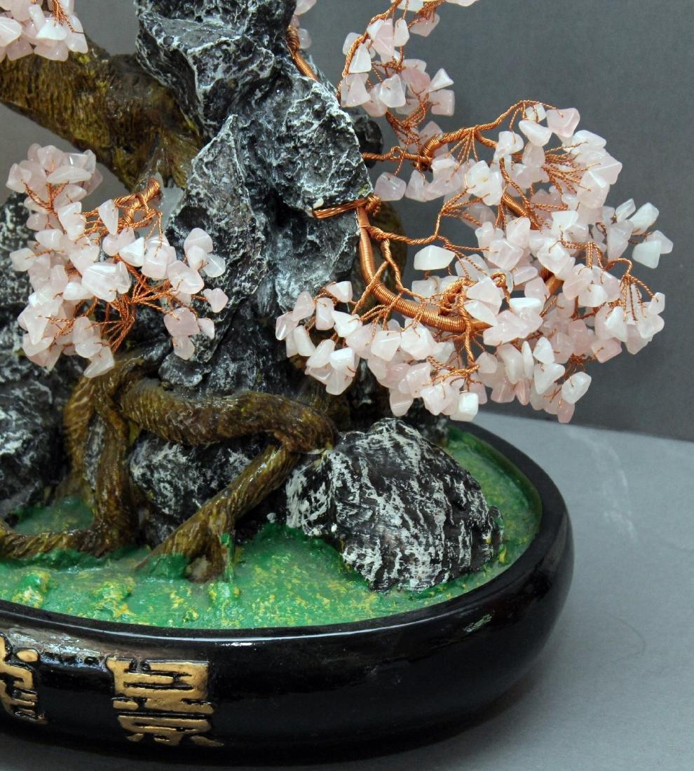 "Chinese carved hardstone bonsai tree; 16"" x 15"" - 2"