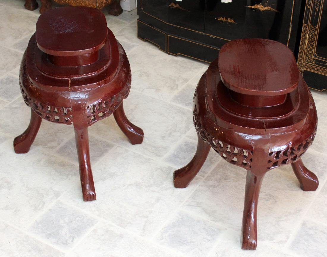 "Pair of Asian wood carved oval stands; 22"" x 20"" - 2"