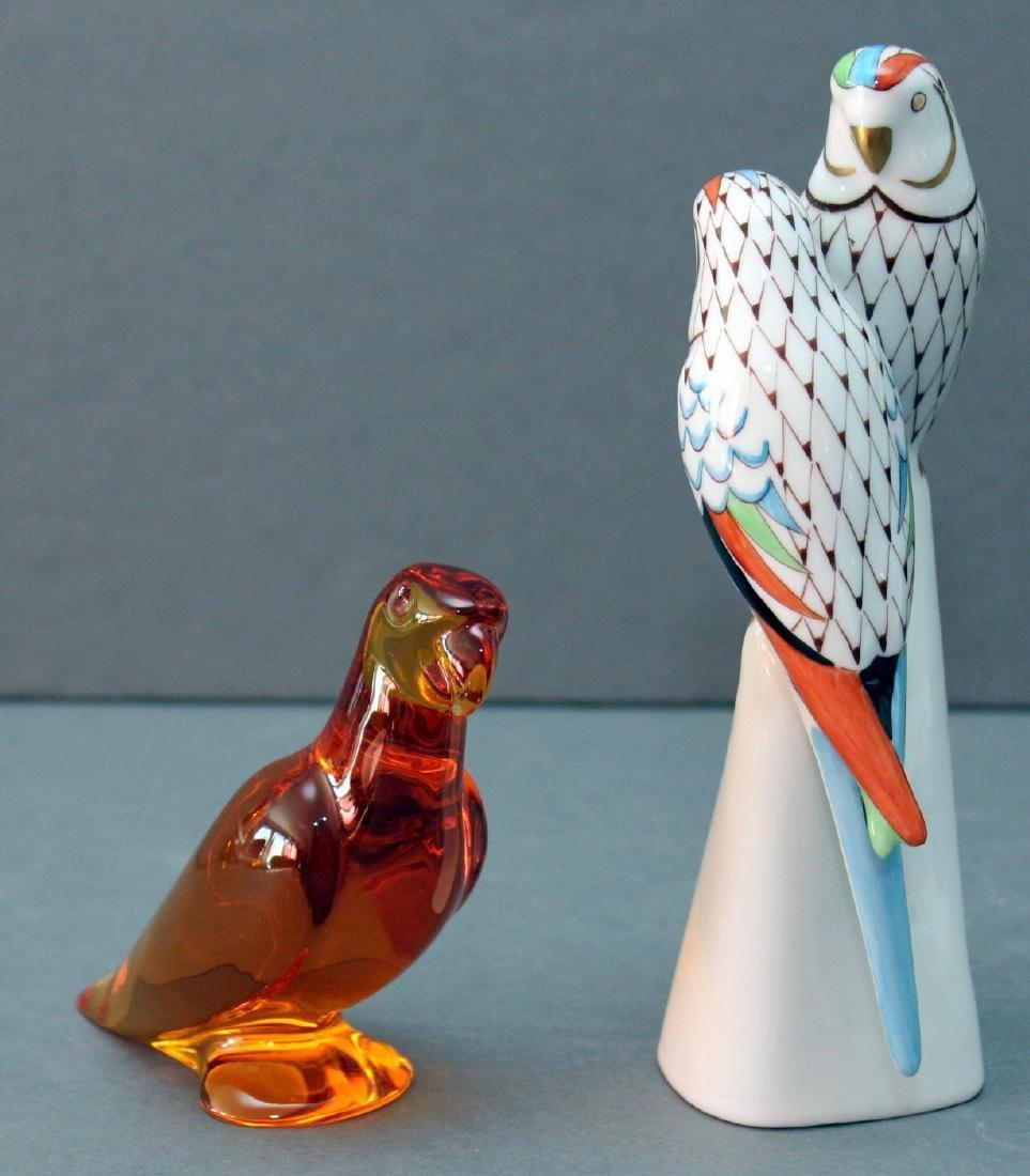 "Hollohaza porcelain fishnet parrots 3.5"" x 6.5"" and"