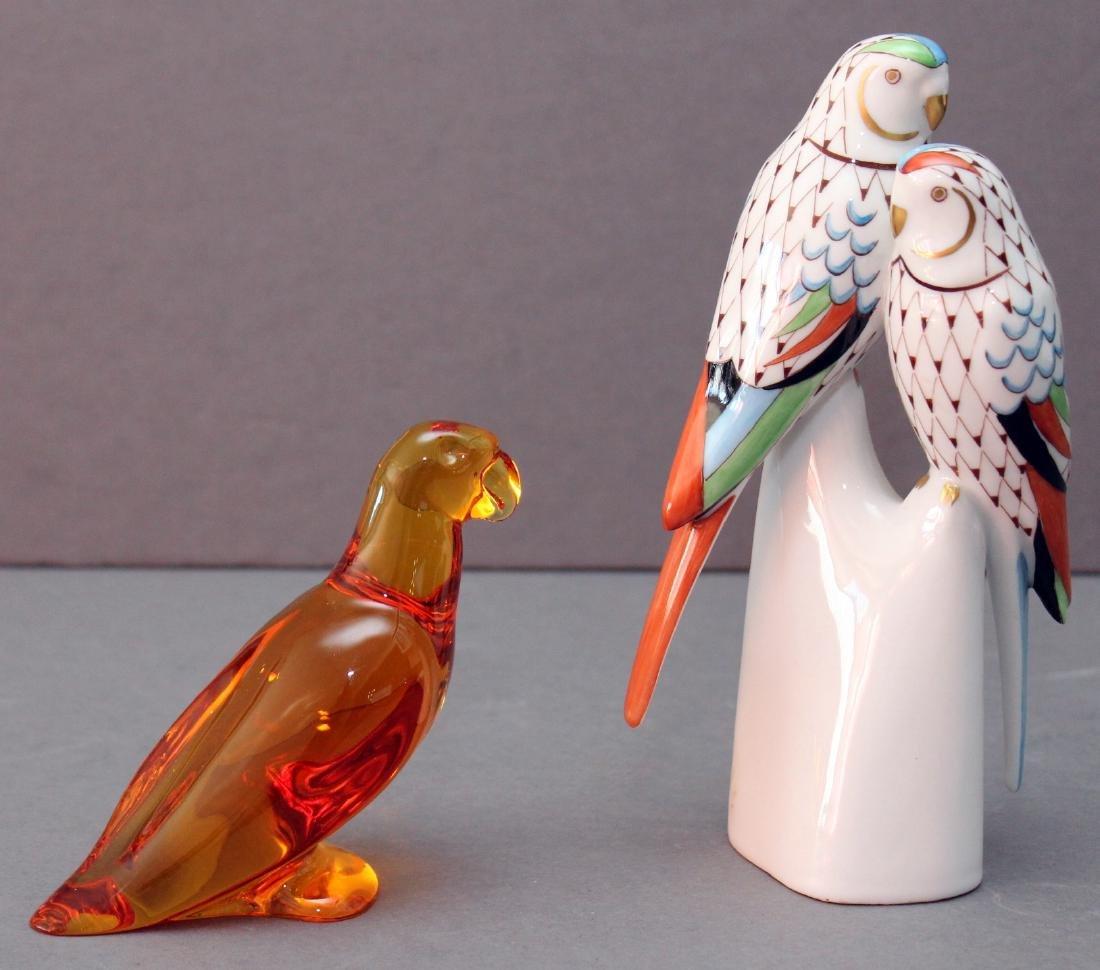 "Hollohaza porcelain fishnet parrots 3.5"" x 6.5"" and - 2"