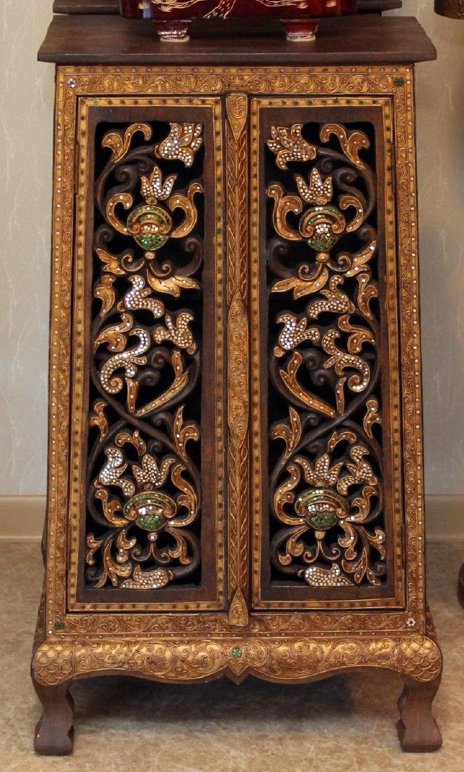 Pair Thai wood carved mirror applied double door tall