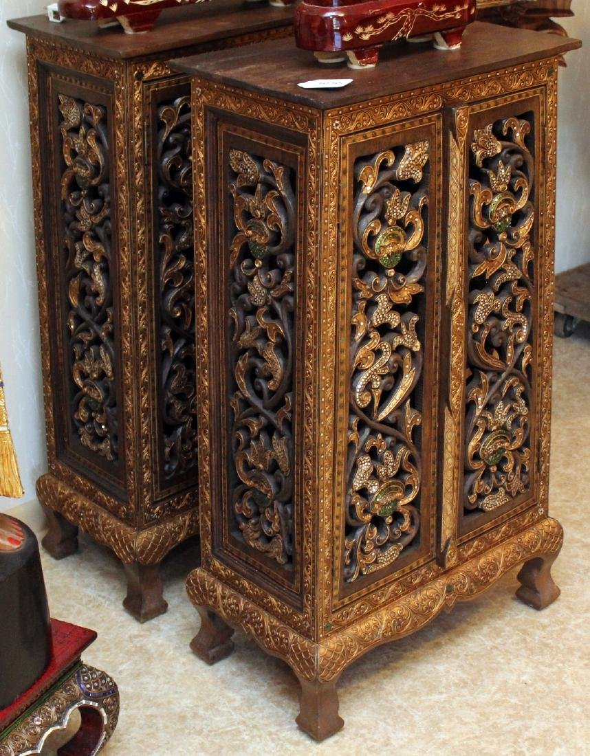 Pair Thai wood carved mirror applied double door tall - 3