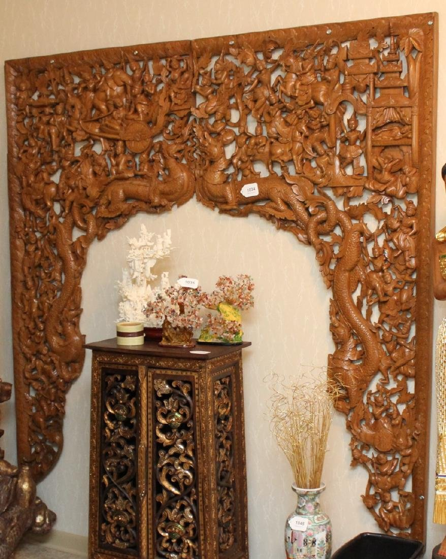 2 pc. Thai wood carved batwing wall plaque with horse &
