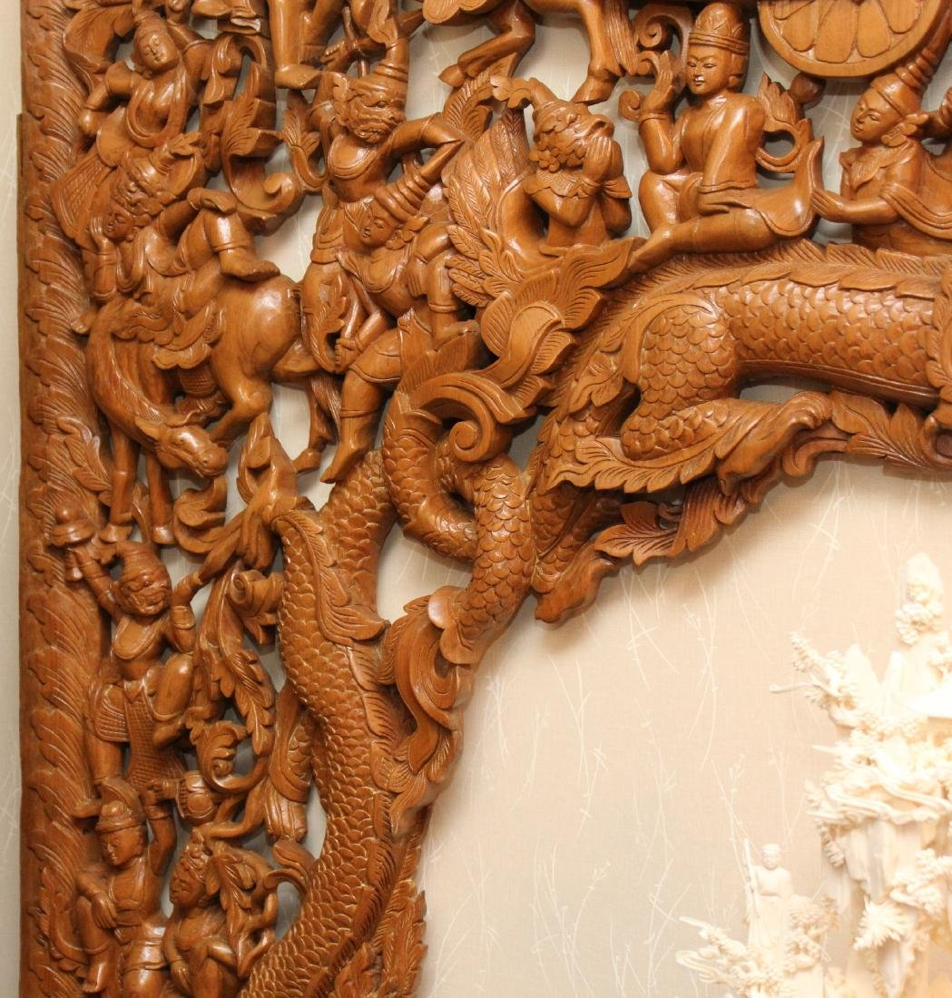 2 pc. Thai wood carved batwing wall plaque with horse & - 3