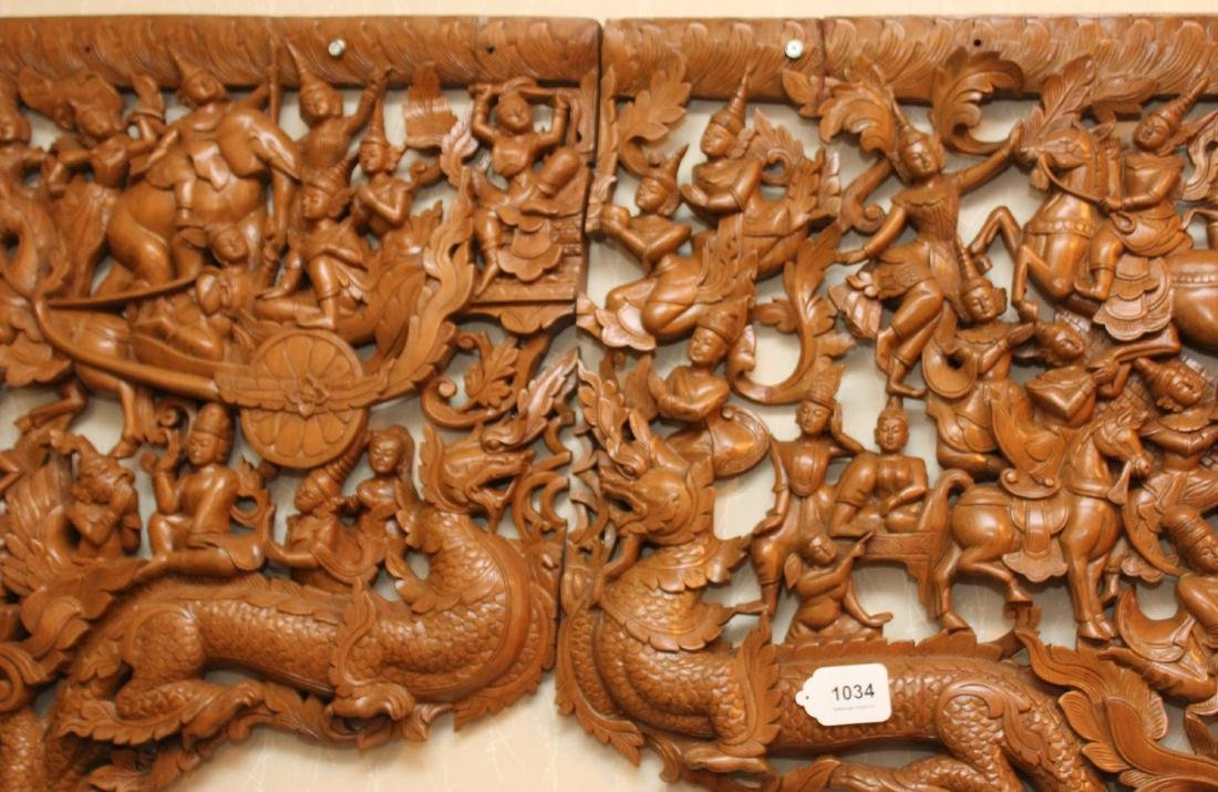 2 pc. Thai wood carved batwing wall plaque with horse & - 5
