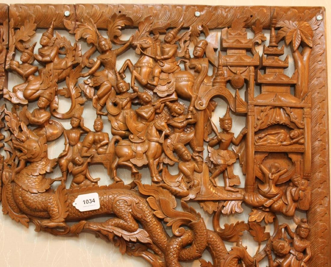 2 pc. Thai wood carved batwing wall plaque with horse & - 6