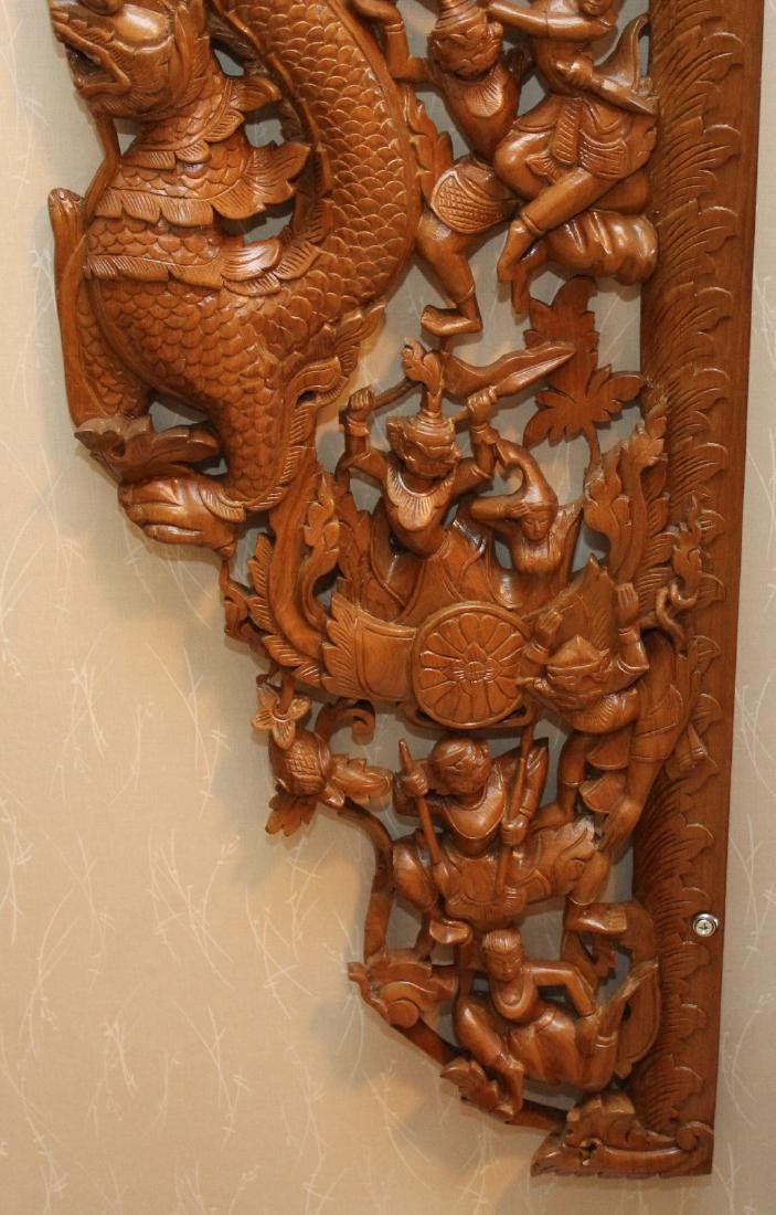 2 pc. Thai wood carved batwing wall plaque with horse & - 8