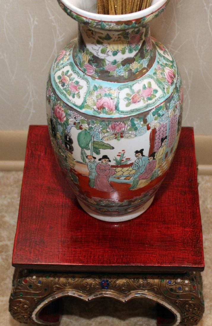 "Chinese porcelain vase 6.5"" x 14"" on Thai wood carved - 2"