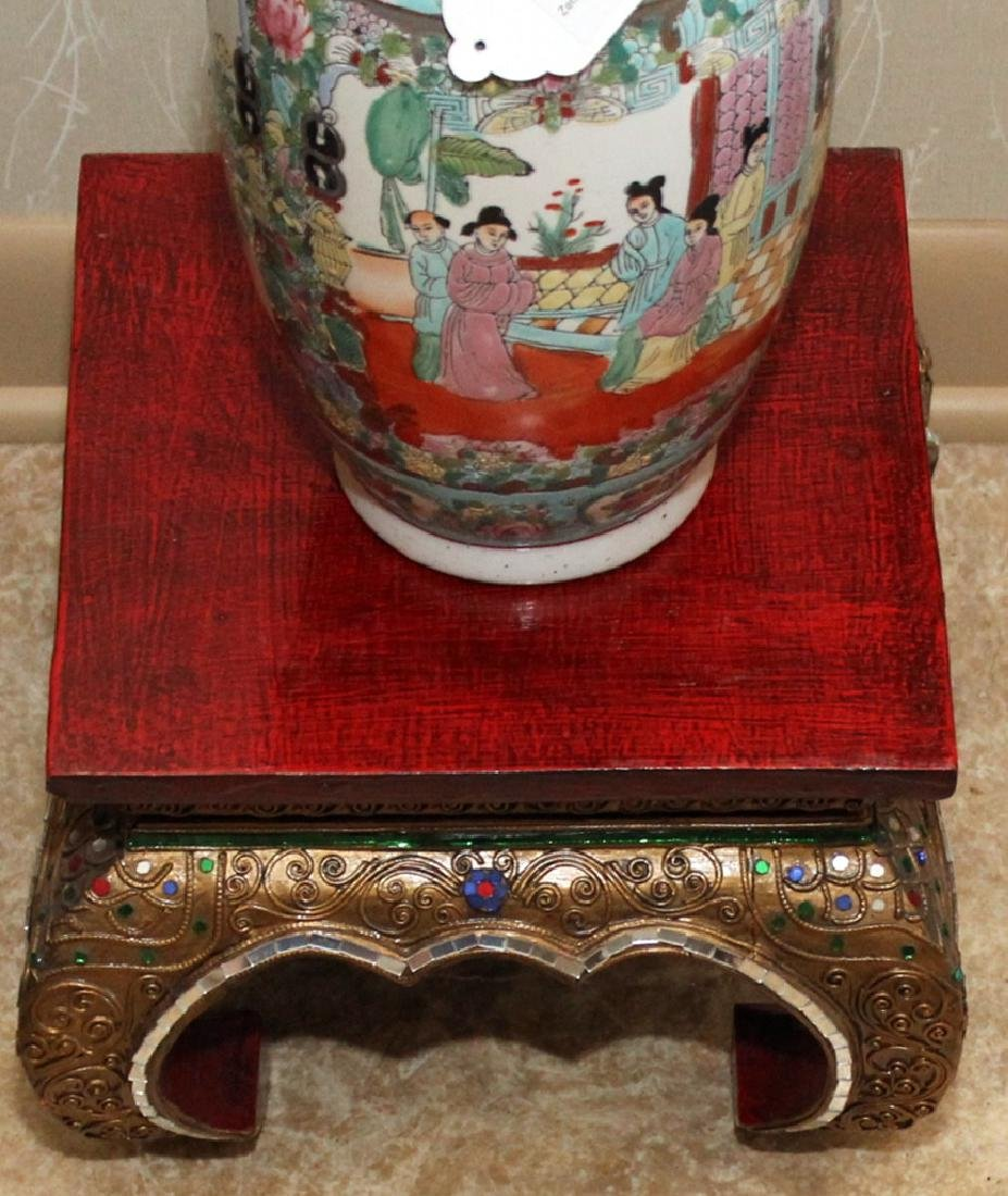 "Chinese porcelain vase 6.5"" x 14"" on Thai wood carved - 3"