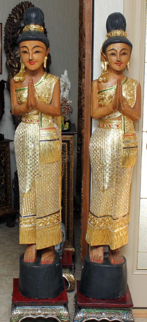 Pair of Thai wood carved mirror applied Sawasdee ladies