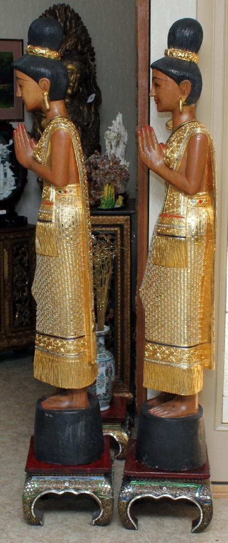 Pair of Thai wood carved mirror applied Sawasdee ladies - 2